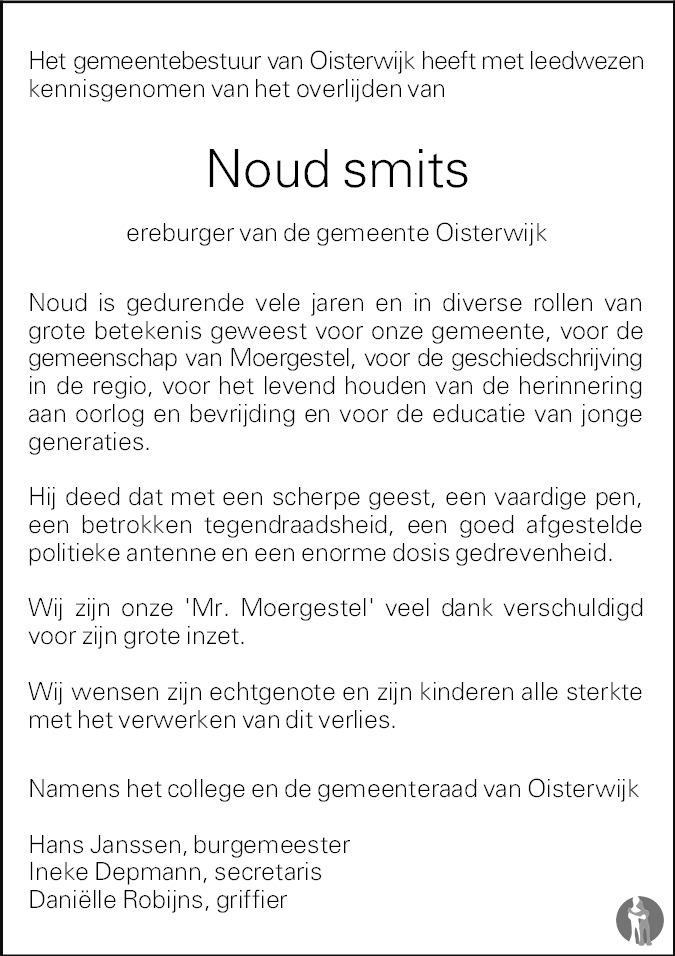 Overlijdensbericht van Noud Smits  in Brabants Dagblad