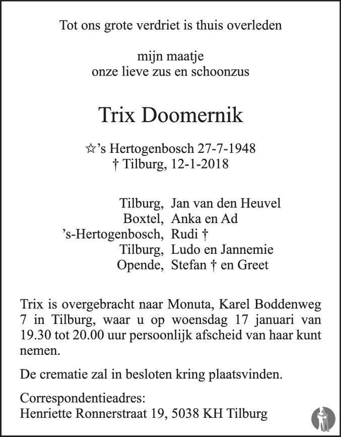 Fonkelnieuw Trix Doomernik ✝ 12-01-2018 overlijdensbericht en condoleances YH-74