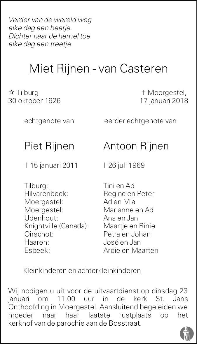 Overlijdensbericht van Miet Rijnen - Van Casteren in Brabants Dagblad