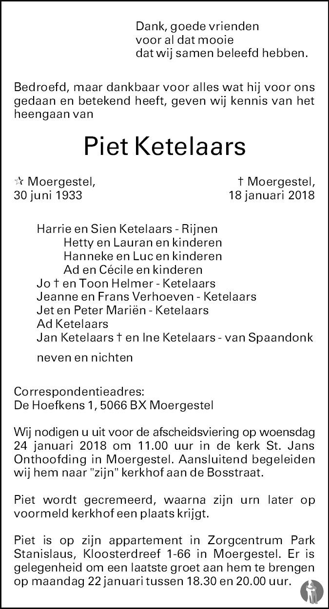 Overlijdensbericht van Piet Ketelaars in Brabants Dagblad