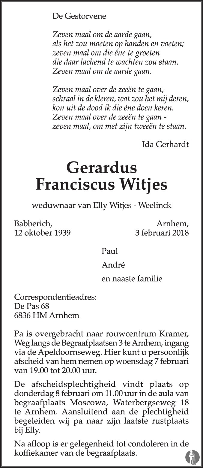 Gerardus Franciscus Witjes 03 02 2018 Overlijdensbericht