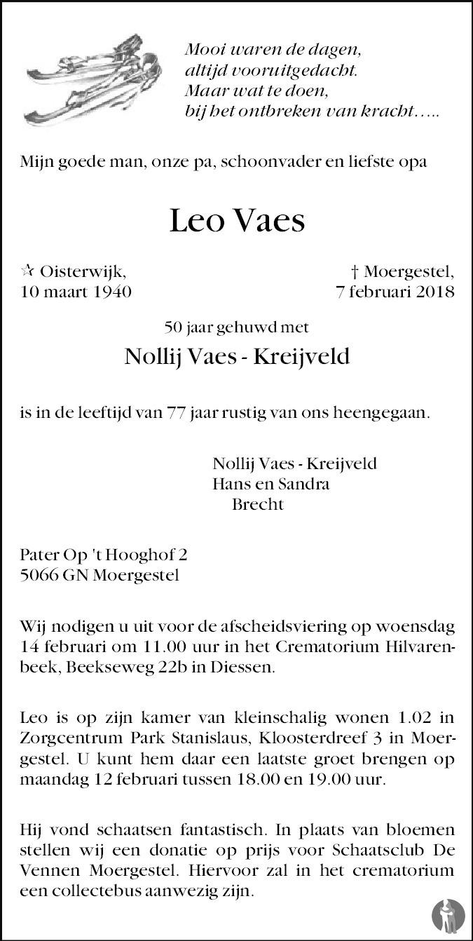Overlijdensbericht van Leo Vaes in Brabants Dagblad