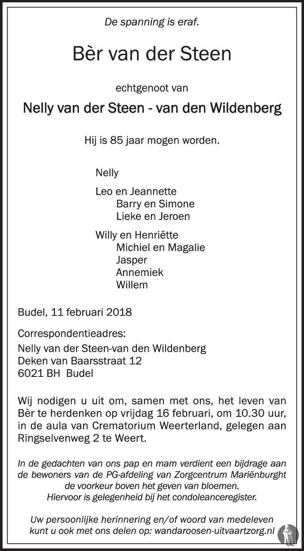 Leo Van Der Steen.Ber Van Der Steen 11 02 2018 Overlijdensbericht En
