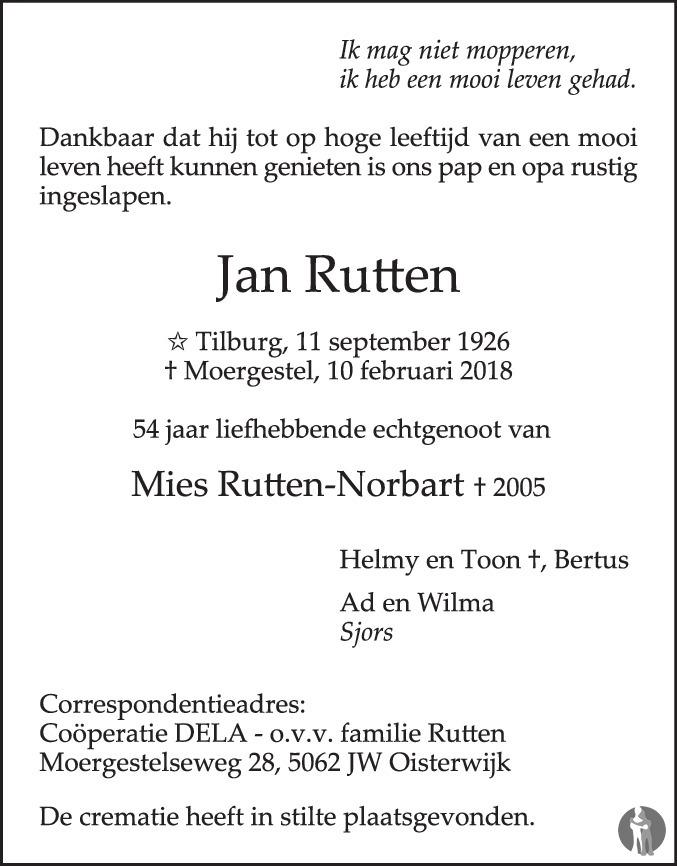 Overlijdensbericht van Jan Rutten in Brabants Dagblad