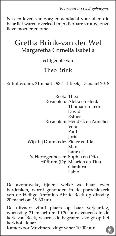 Margaretha Cornelia Isabella Gretha Brink Van Der Wel 17 03