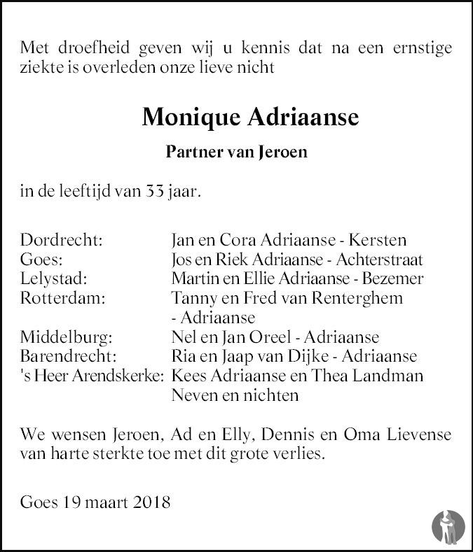 Overlijdensbericht van Monique Adriaanse in PZC Provinciale Zeeuwse Courant
