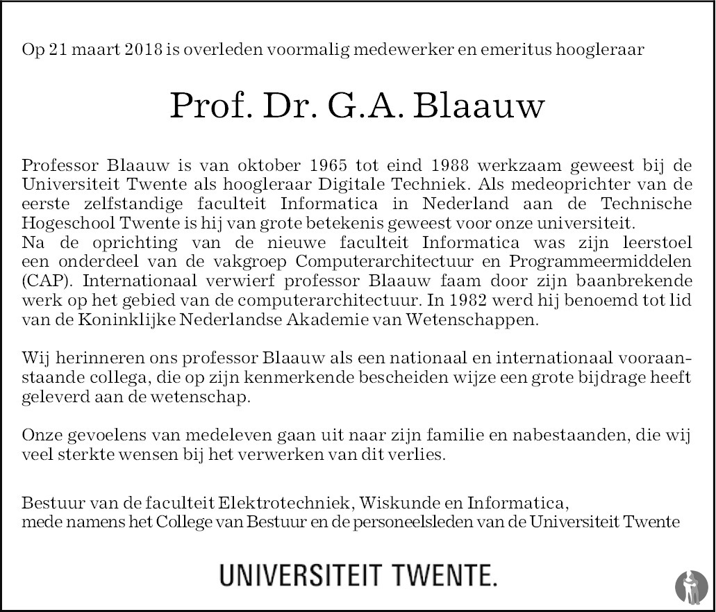 Overlijdensbericht van Prof. dr. Gerrit Anne Blaauw in Tubantia