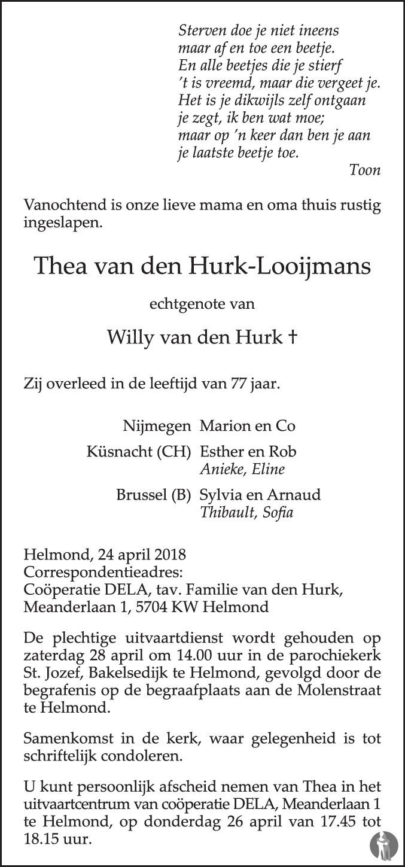 Thea Van Den Hurk Looijmans 24 04 2018 Overlijdensbericht En