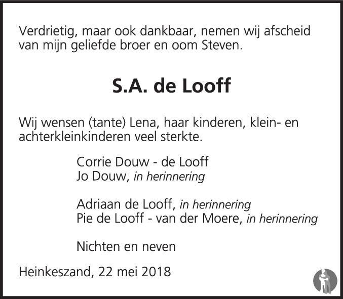 Overlijdensbericht van Steven Adriaan (Steven) de Looff in PZC Provinciale Zeeuwse Courant