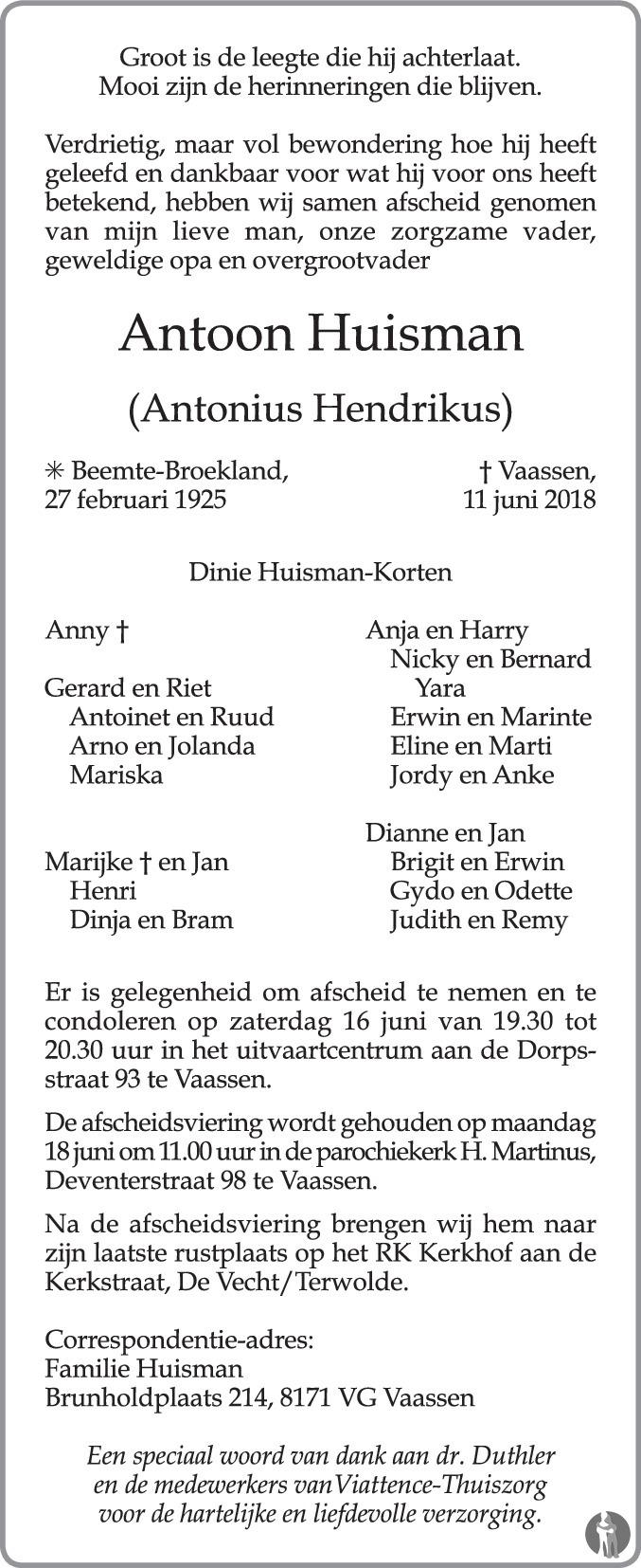 Overlijdensbericht van Antonius Hendrikus (Antoon) Huisman in de Stentor