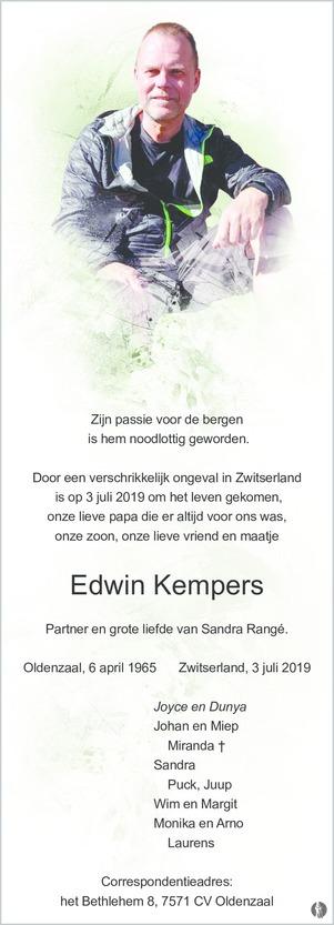 overlijdensbericht van Edwin Kempers
