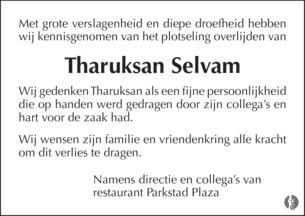 overlijdensbericht van Tharukshan  Selvam