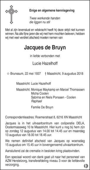 De Bruyn Koeriers.Jacques De Bruyn Mensenlinq Nl De Weekkrant Overlijden Nieuws