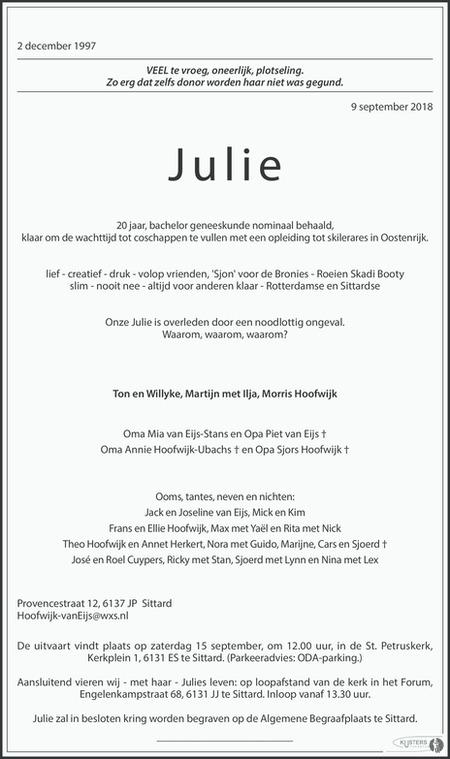 overlijdensbericht van Julie Hoofwijk