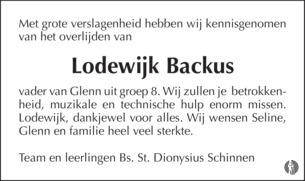 advertentie van Lodewijk   Backus