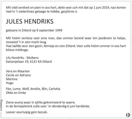 advertentie van Jules Hendriks