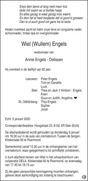 Wiel Wullem Engels 05 01 2020 Overlijdensbericht En