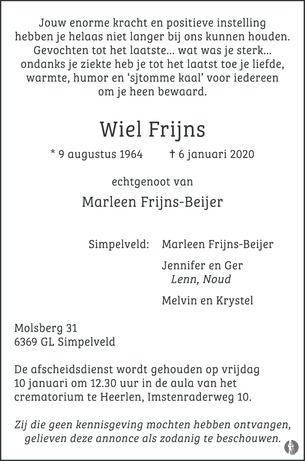advertentie van Wiel Frijns