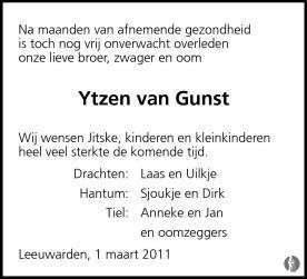 Ytzen Van Gunst 01 03 2011 Overlijdensbericht En Condoleances