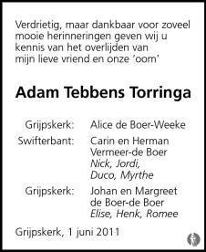 Adam Tebbens Torringa ✝ 01-06-2011 overlijdensbericht en
