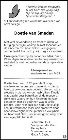 Doetie van smeden van der wal 08 09 2011 overlijdensbericht en condoleances - Smeden van ijzeren ...