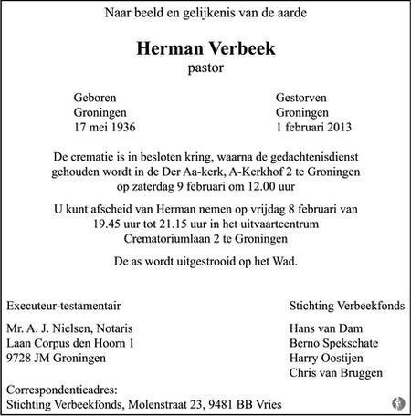 overlijdensbericht van Herman  Verbeek