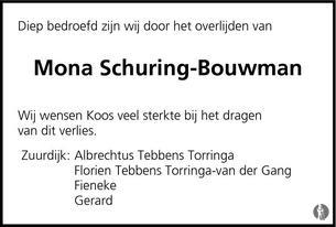 Mona Schuring - Bouwman ✝ 09-07-2013 overlijdensbericht en