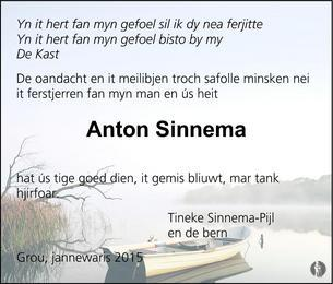 Anton Sinnema 17 12 2014 Overlijdensbericht En