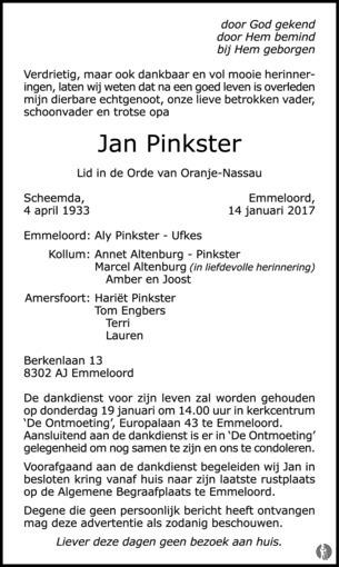 Jan pinkster emmeloord