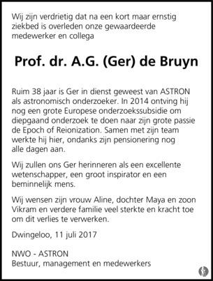 De Bruyn Koeriers.Prof Dr A G Ger De Bruyn 11 07 2017 Overlijdensbericht En