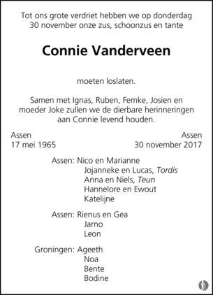096df372056 Connie Vanderveen ✝ 30-11-2017 overlijdensbericht en condoleances ...