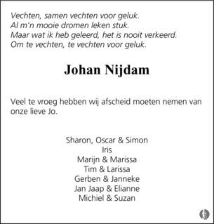 gedetailleerde look officiële winkel nog een kans Johan Nijdam ✝ 17-04-2018 overlijdensbericht en ...