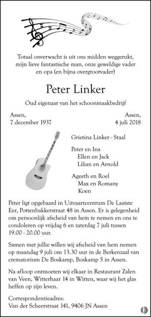 advertentie van Peter Linker