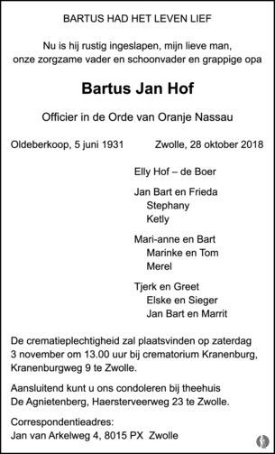 Bartus Jan Hof 28 10 2018 Overlijdensbericht En Condoleances