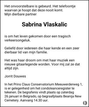 overlijdensbericht van Sabrina Vlaskalic