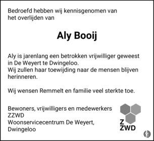 De Weyert Dwingeloo.Aly Booij Timmerman 02 02 2019 Overlijdensbericht En