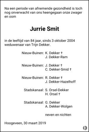 Jurrien Smit ✝ 30-03-2019 overlijdensbericht en