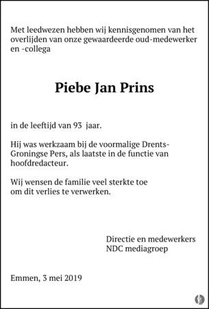 advertentie van Piebe Jan Prins