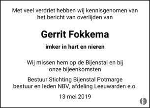 advertentie van Gerrit Ruurd Fokkema