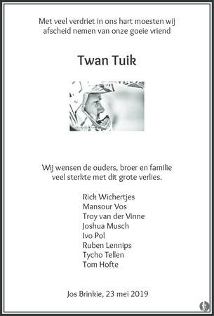 overlijdensbericht van Twan  Tuik
