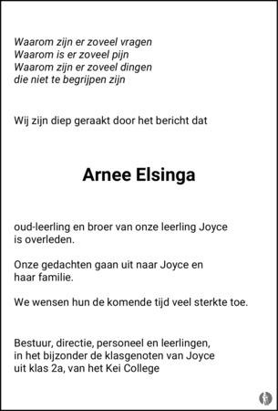 advertentie van Arnee Elsinga