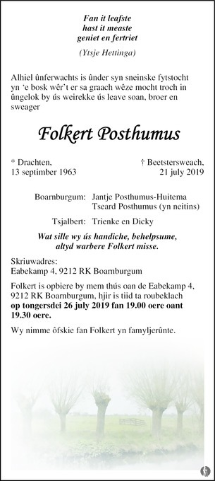 overlijdensbericht van Folkert Posthumus