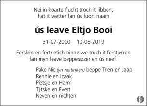 overlijdensbericht van Eltjo Robbert Booi