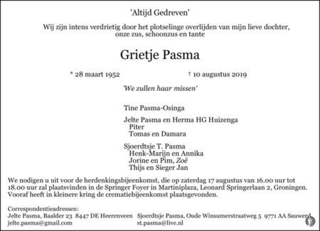 overlijdensbericht van Grietje Pasma