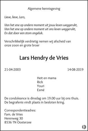 advertentie van Lars Hendry de Vries