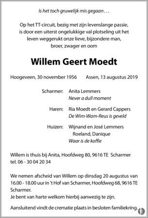 advertentie van Willem Geert Moedt