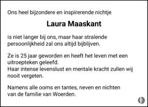 overlijdensbericht van Laura  Maaskant