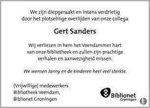 overlijdensbericht van Gert  Sanders