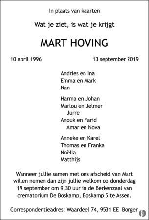 advertentie van Mart Hoving