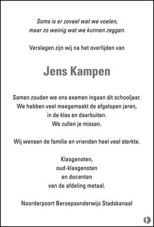advertentie van Jens Kampen